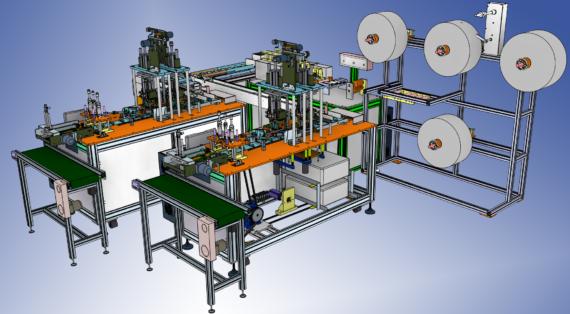 مدل سه بعدی دستگاه اتوماتیک ساخت ماسک دو طرفه